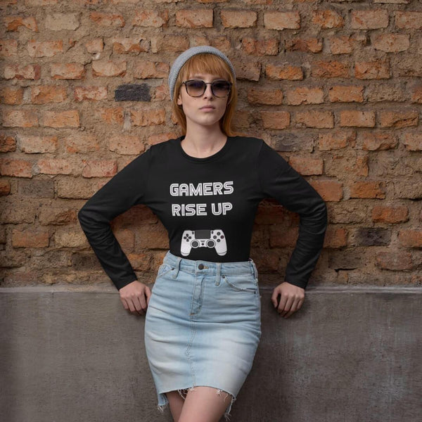 Gamers Rise Up Long Sleeve T-Shirt shopyourmeme Black XS