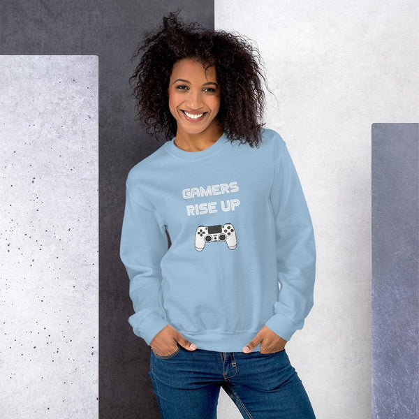 Gamers Rise Up Sweatshirt shopyourmeme Light Blue S