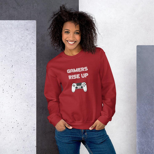 Gamers Rise Up Sweatshirt shopyourmeme Red S