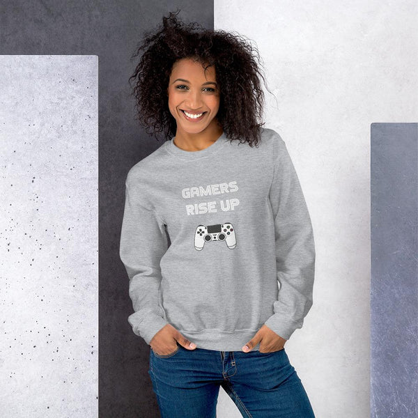 Gamers Rise Up Sweatshirt shopyourmeme Sport Grey S