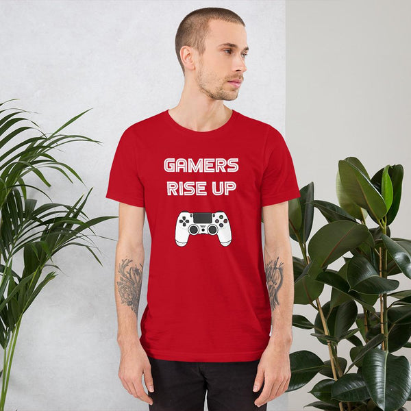Gamers Rise Up T-Shirt shopyourmeme Red S