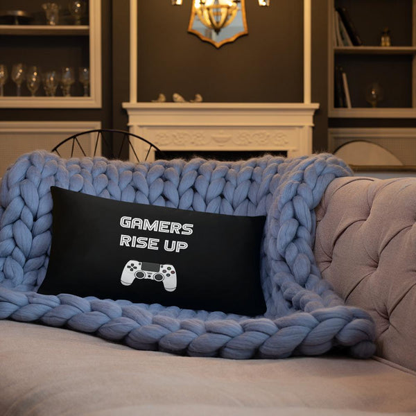 Gamers Rise Up Throw Pillow shopyourmeme 20×12