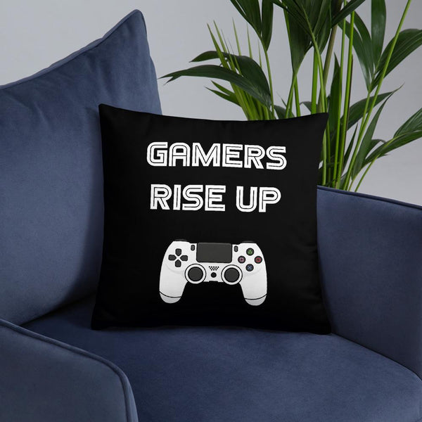 Gamers Rise Up Throw Pillow shopyourmeme