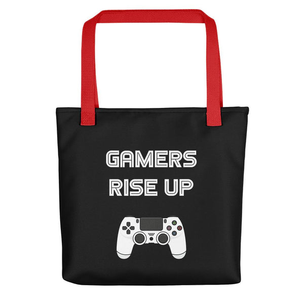 Gamers Rise Up Tote Bag shopyourmeme Red