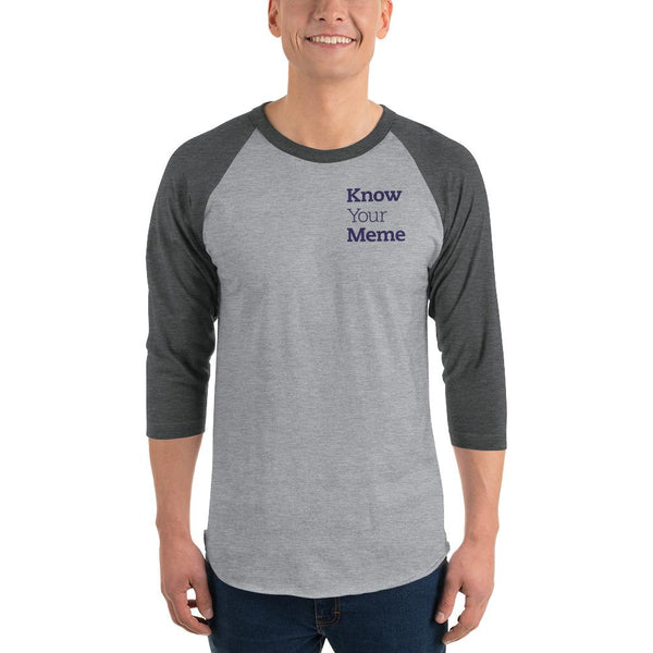 Know Your Meme 3/4 Sleeve Raglan Shirt shopyourmeme Heather Grey/Heather Charcoal XS