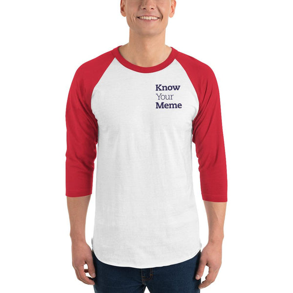 Know Your Meme 3/4 Sleeve Raglan Shirt shopyourmeme White/Red XS
