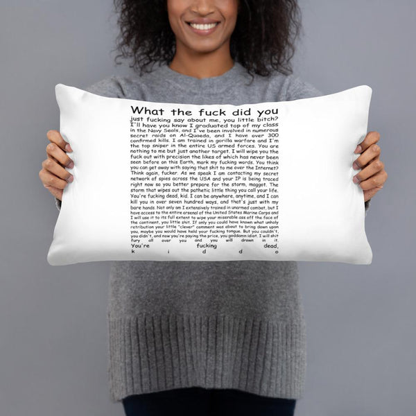 Navy Seal Copypasta Throw Pillow shopyourmeme 20×12