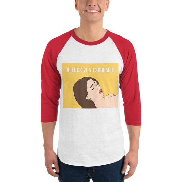 Oh Fuck Yeah Spread It 3/4 Sleeve Raglan Shirt shopyourmeme White/Red XS