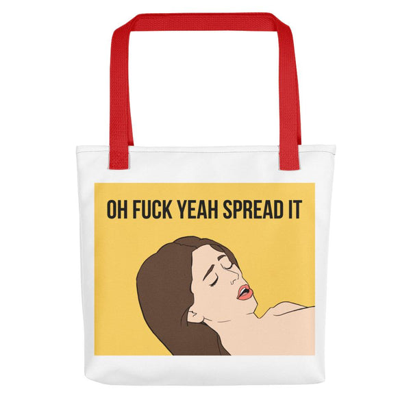 Oh Fuck Yeah Spread It Tote Bag shopyourmeme Red