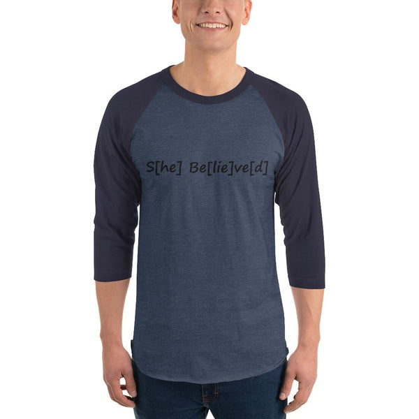 S[he] Be[lie]ve[d] 3/4 Sleeve Raglan Shirt shopyourmeme Heather Denim/Navy XS