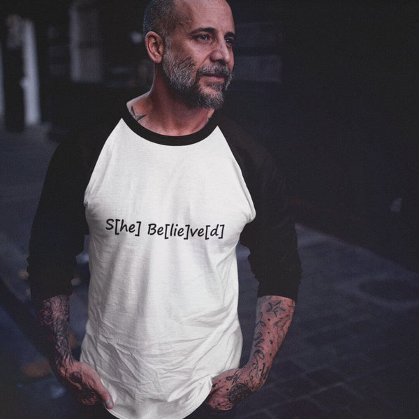 S[he] Be[lie]ve[d] 3/4 Sleeve Raglan Shirt shopyourmeme White/Black XS