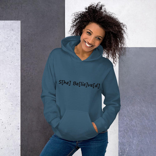 S[he] Be[lie]ve[d] Hoodie shopyourmeme Indigo Blue S