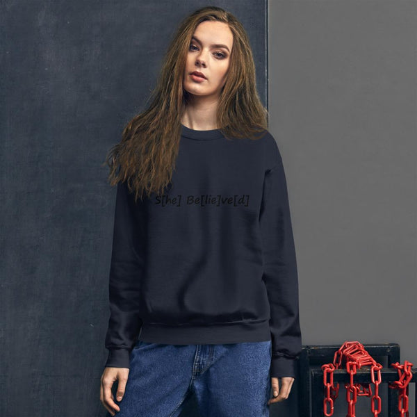 S[he] Be[lie]ve[d] Sweatshirt shopyourmeme Navy S