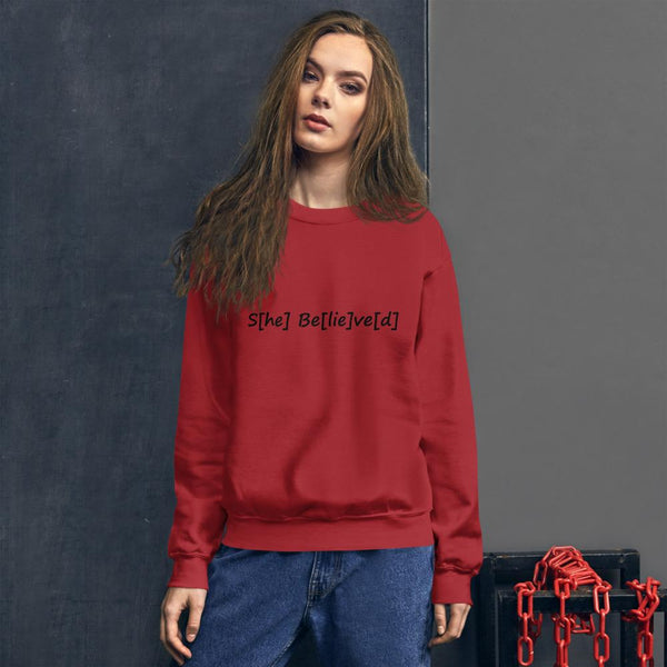 S[he] Be[lie]ve[d] Sweatshirt shopyourmeme Red S