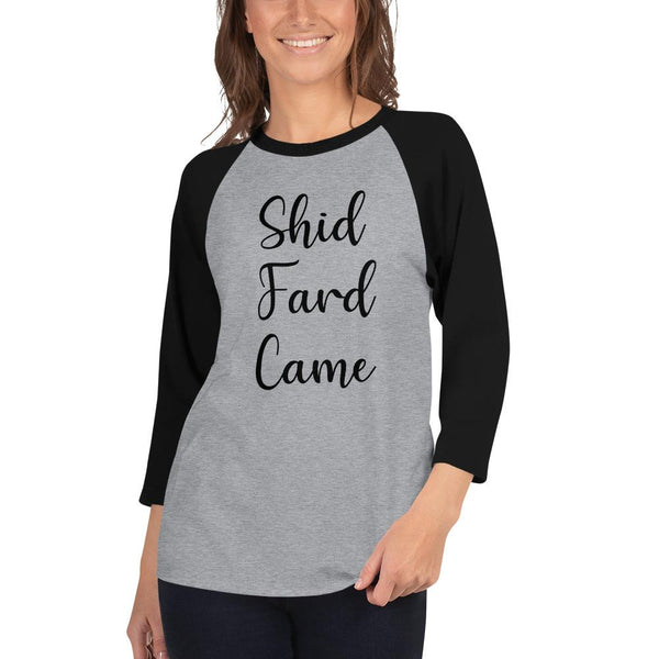 Shid Fard Came (Live Laugh Love Parody) 3/4 Sleeve Raglan Shirt shopyourmeme Heather Grey/Black XS