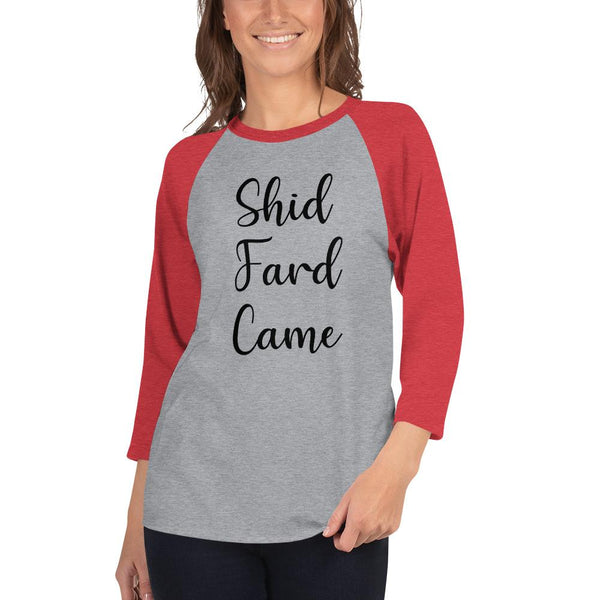 Shid Fard Came (Live Laugh Love Parody) 3/4 Sleeve Raglan Shirt shopyourmeme Heather Grey/Heather Red XS