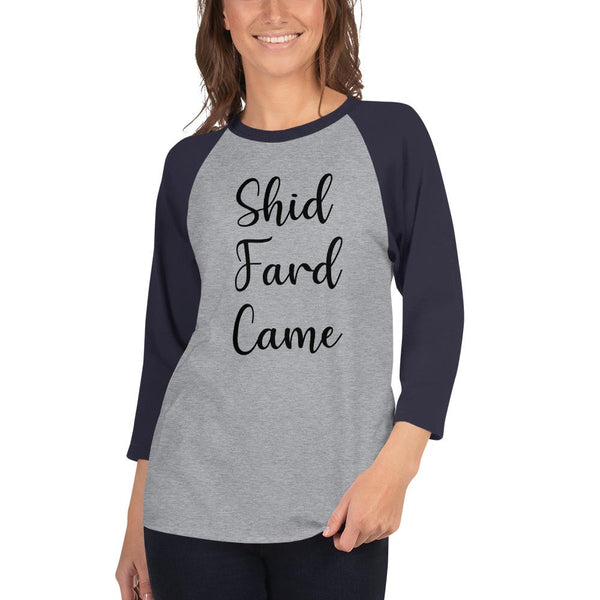 Shid Fard Came (Live Laugh Love Parody) 3/4 Sleeve Raglan Shirt shopyourmeme Heather Grey/Navy XS