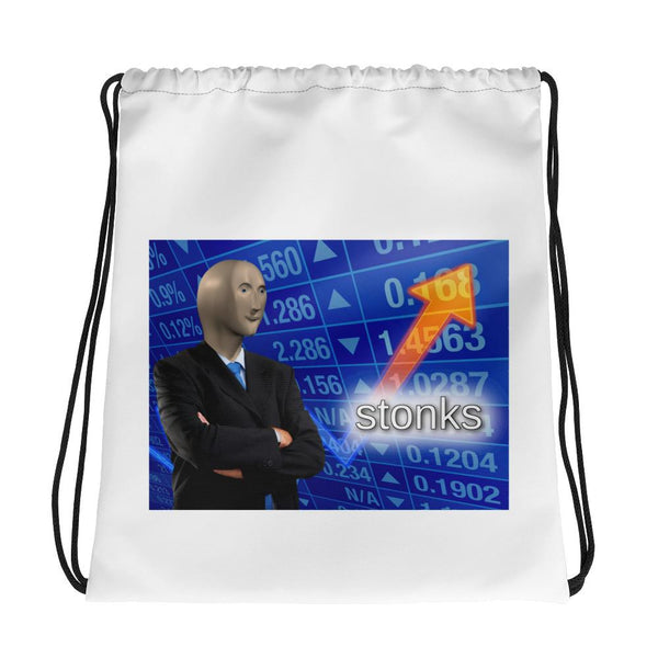 Stonks Drawstring Bag shopyourmeme Default Title