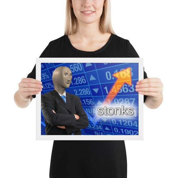 Stonks Framed Poster shopyourmeme 12×16