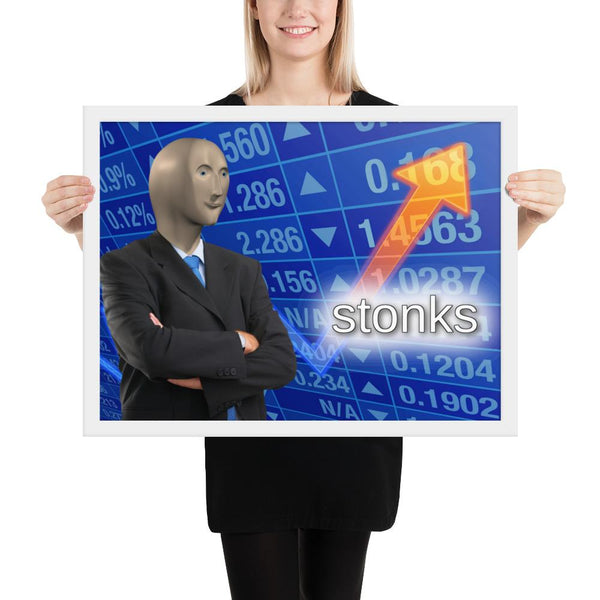Stonks Framed Poster shopyourmeme 18×24