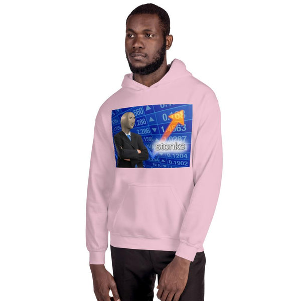 Stonks Hoodie shopyourmeme Light Pink S
