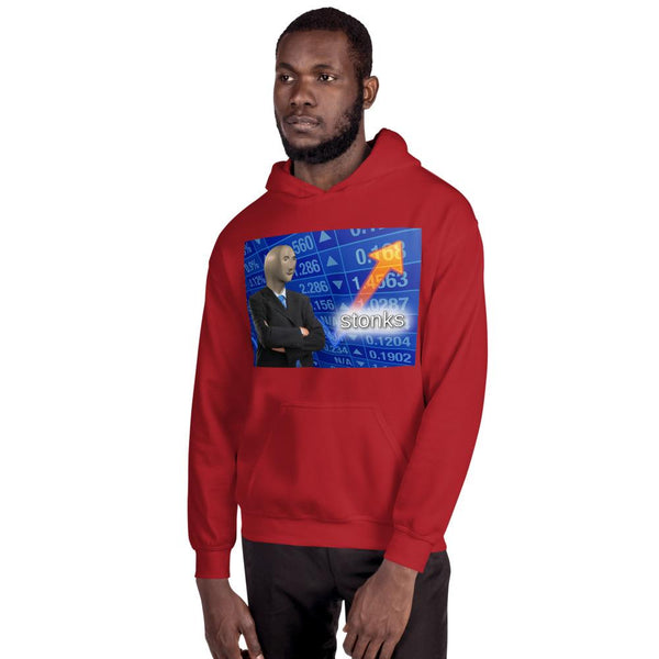 Stonks Hoodie shopyourmeme Red S