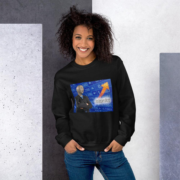 Stonks Sweatshirt shopyourmeme Black S