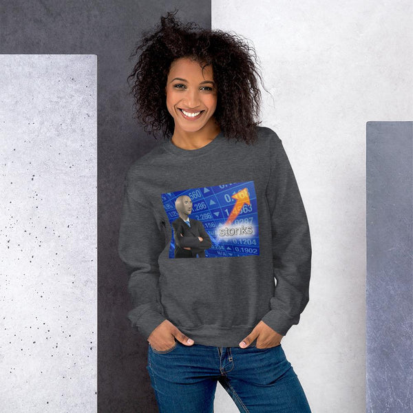 Stonks Sweatshirt shopyourmeme Dark Heather S