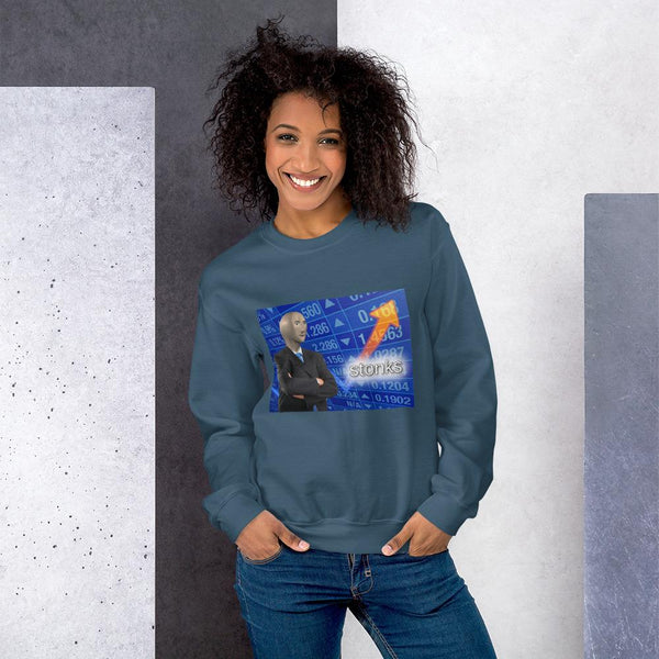 Stonks Sweatshirt shopyourmeme Indigo Blue S