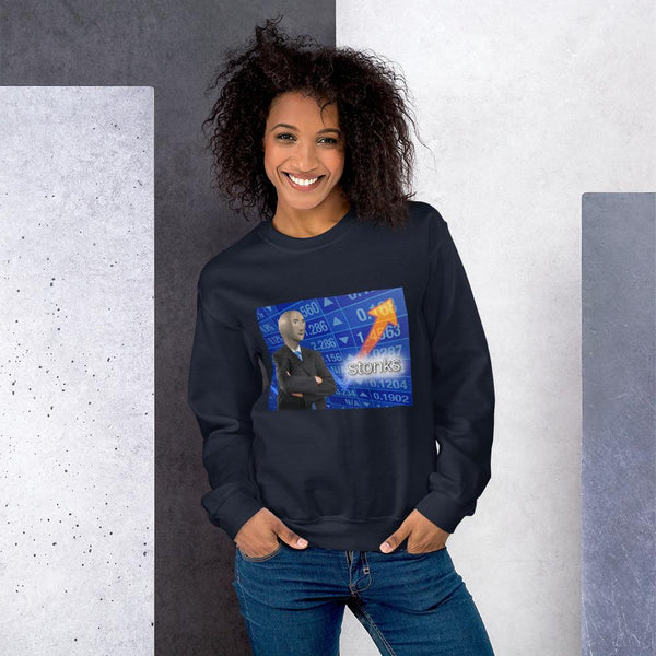 Stonks Sweatshirt shopyourmeme Navy S