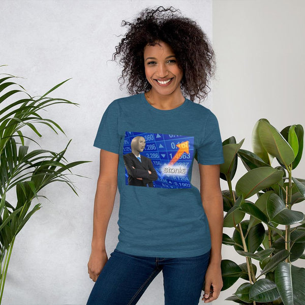Stonks T-Shirt shopyourmeme Heather Deep Teal S