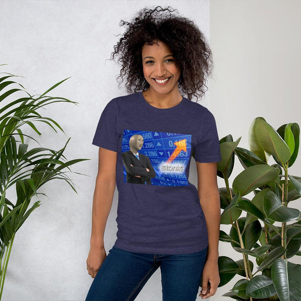 Stonks T-Shirt shopyourmeme Heather Midnight Navy S