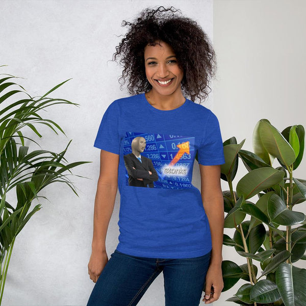 Stonks T-Shirt shopyourmeme Heather True Royal S