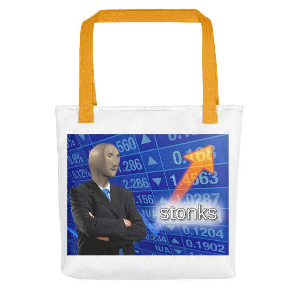 Stonks Tote Bag shopyourmeme Yellow