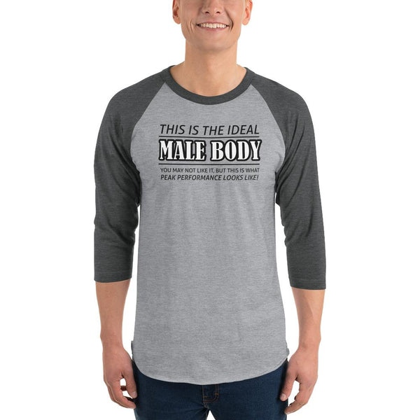 The Ideal Male Body 3/4 Sleeve Raglan Shirt shopyourmeme Heather Grey/Heather Charcoal XS
