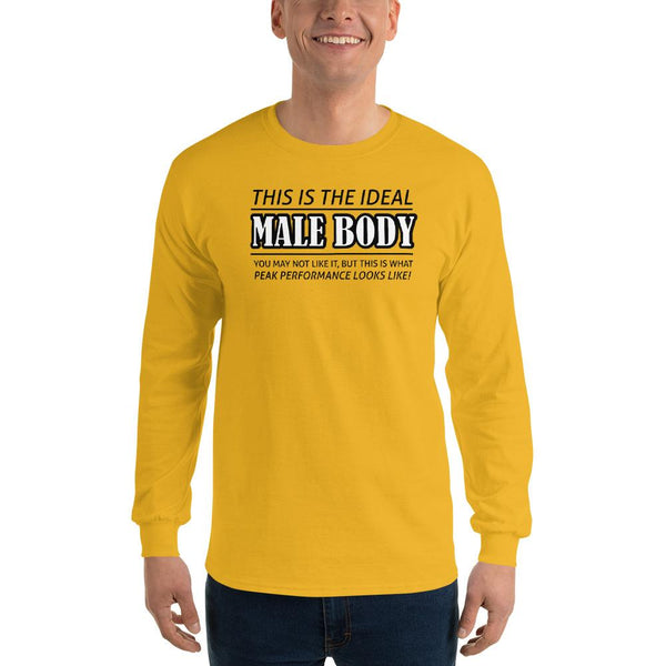 The Ideal Male Body Long Sleeve T-Shirt shopyourmeme Gold S