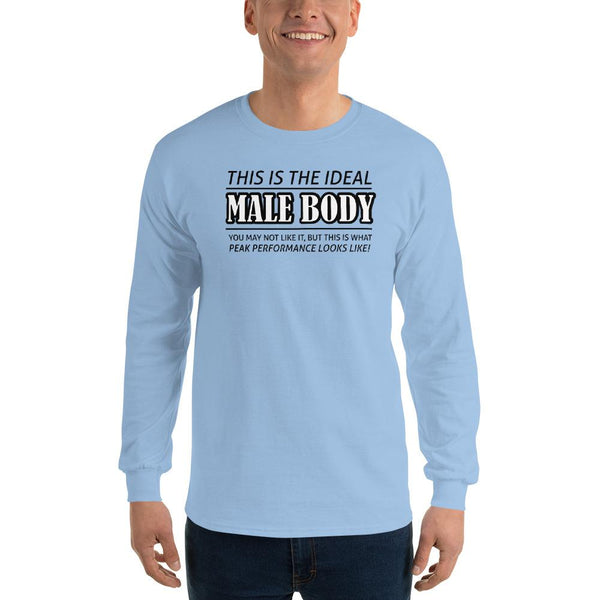 The Ideal Male Body Long Sleeve T-Shirt shopyourmeme Light Blue S