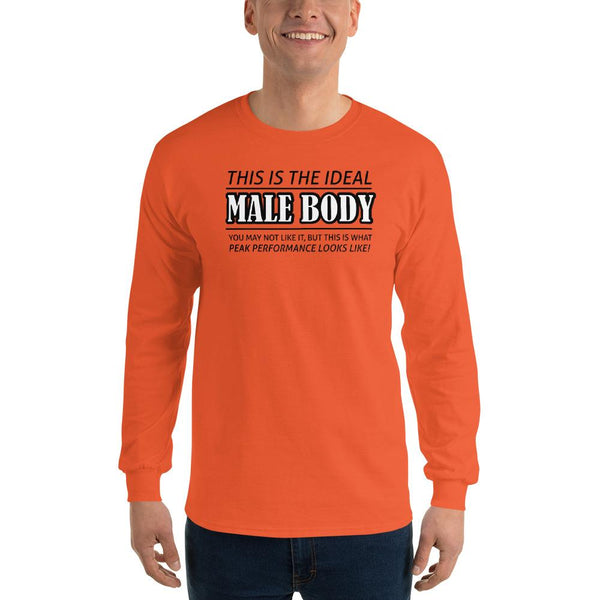 The Ideal Male Body Long Sleeve T-Shirt shopyourmeme Orange S
