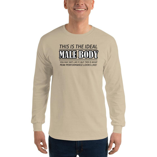The Ideal Male Body Long Sleeve T-Shirt shopyourmeme Sand S