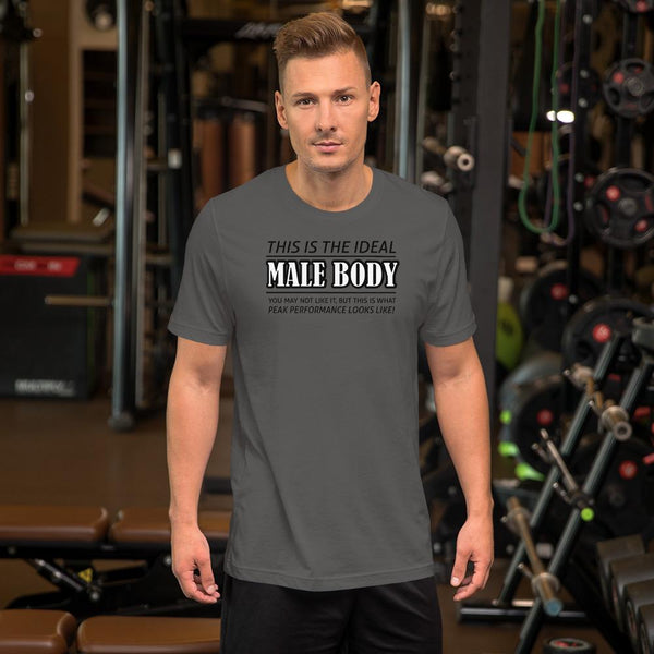 The Ideal Male Body T-Shirt shopyourmeme Asphalt S