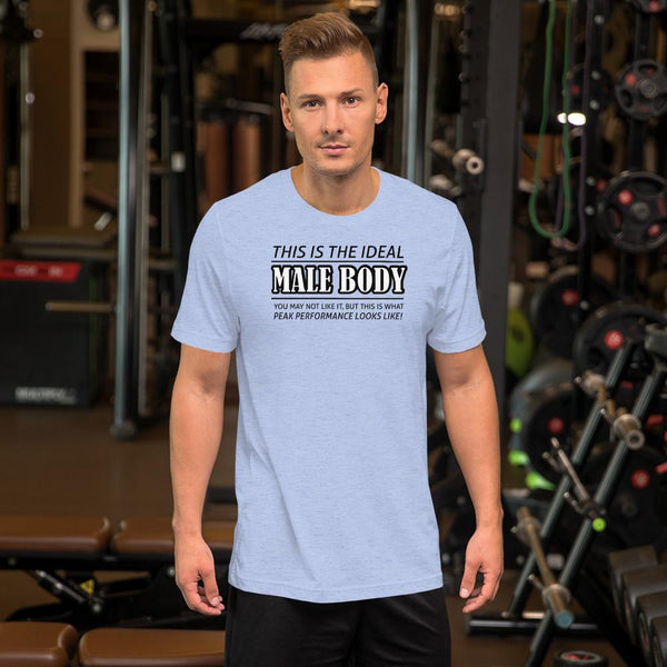 The Ideal Male Body T-Shirt shopyourmeme Heather Blue S