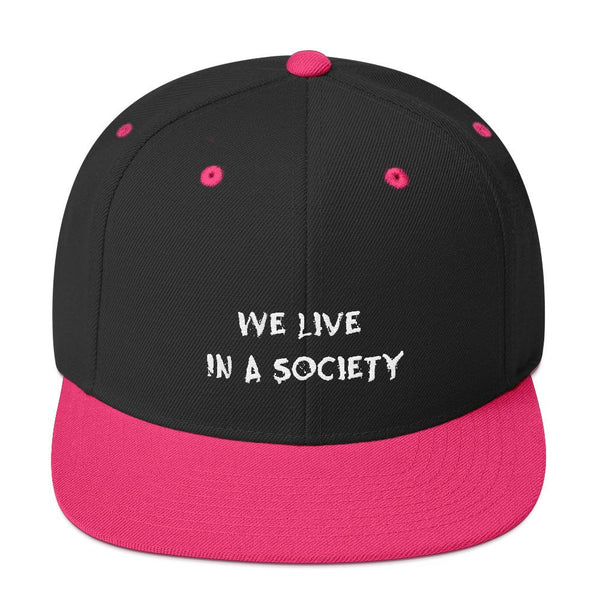 We Live In a Society Snapback shopyourmeme Black/ Neon Pink