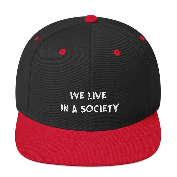 We Live In a Society Snapback shopyourmeme Black/ Red