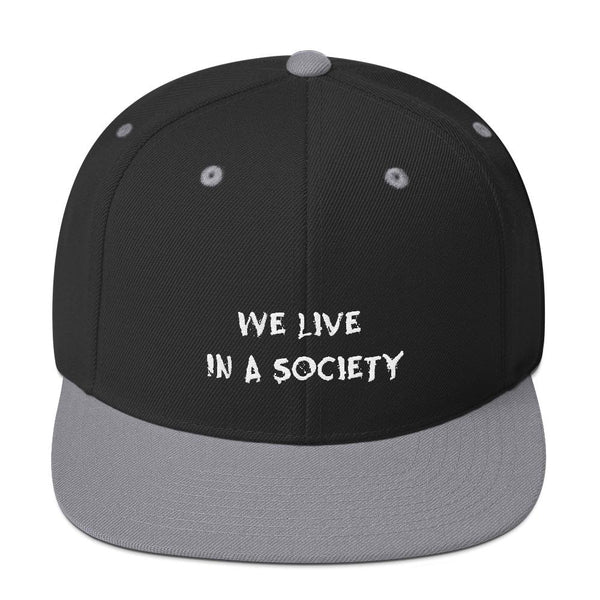 We Live In a Society Snapback shopyourmeme Black/ Silver