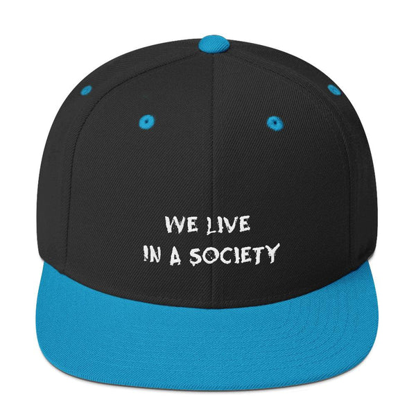 We Live In a Society Snapback shopyourmeme Black/ Teal