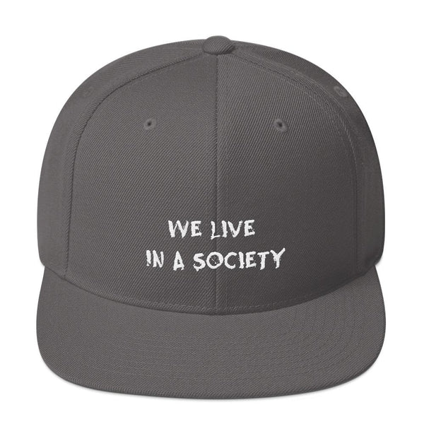 We Live In a Society Snapback shopyourmeme Dark Grey