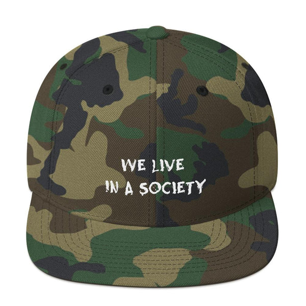 We Live In a Society Snapback shopyourmeme Green Camo