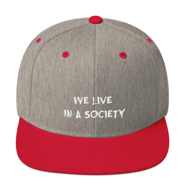 We Live In a Society Snapback shopyourmeme Heather Grey/ Red