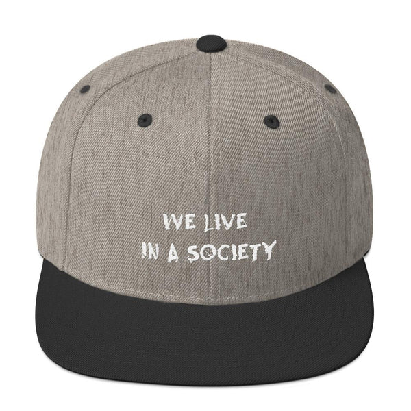 We Live In a Society Snapback shopyourmeme Heather/Black