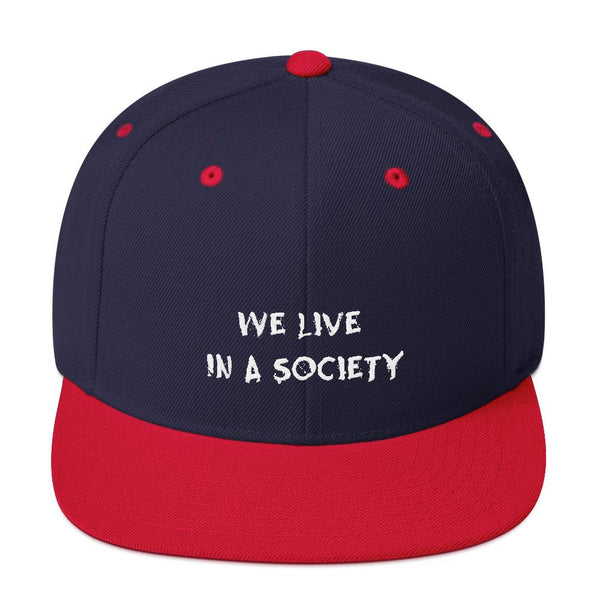 We Live In a Society Snapback shopyourmeme Navy/ Red